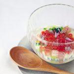 イクラ 鰤 糊化じゃが芋 海水のジュレ 炭焼きネギ 大阪野菜「高山真菜」 浅葱の花