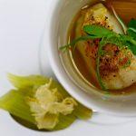雉と鳥節のブロード 甘鯛 下仁田ネギの炭火焼き 柚子 フキの含め煮